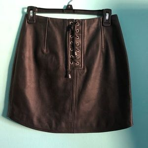 Topshop Unique Leather Skirt